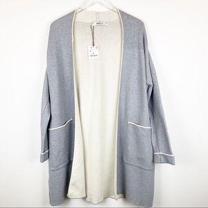 Zara Knit Long Cardigan in Gray size Small